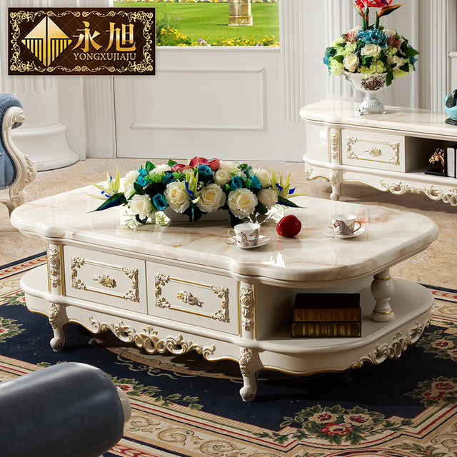 Marble Coffee Table For Living Room: European Natural Marble Coffee Table TV Cabinet