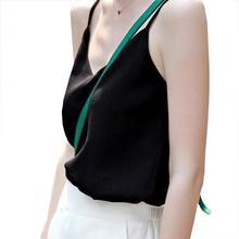 Yfashion Sexy Black White Camis T-shirt Summer Solid Women Breathable Casual V-neck Chiffon Sling Vest Tops