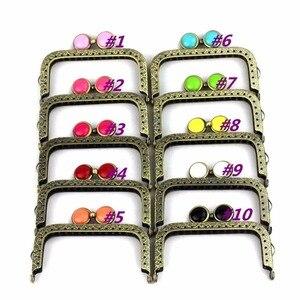 Image 2 - 10 pcs/lot 8.5 cm square antique bronze flat bead metal purse frame Kiss clasp bag accessory 10 colors