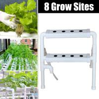 2 Layers Hydroponic Grow Kit Plastic 8 Sites Ebb & Flow Deep Water Culture Nursery Pot Garden System Hydroponic Rack Supplies