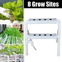 2 Layers Hydroponic Grow Kit Plastic 8 Sites Ebb & Flow Deep Water Culture Nursery Pot Garden System Hydroponic Rack Supplies