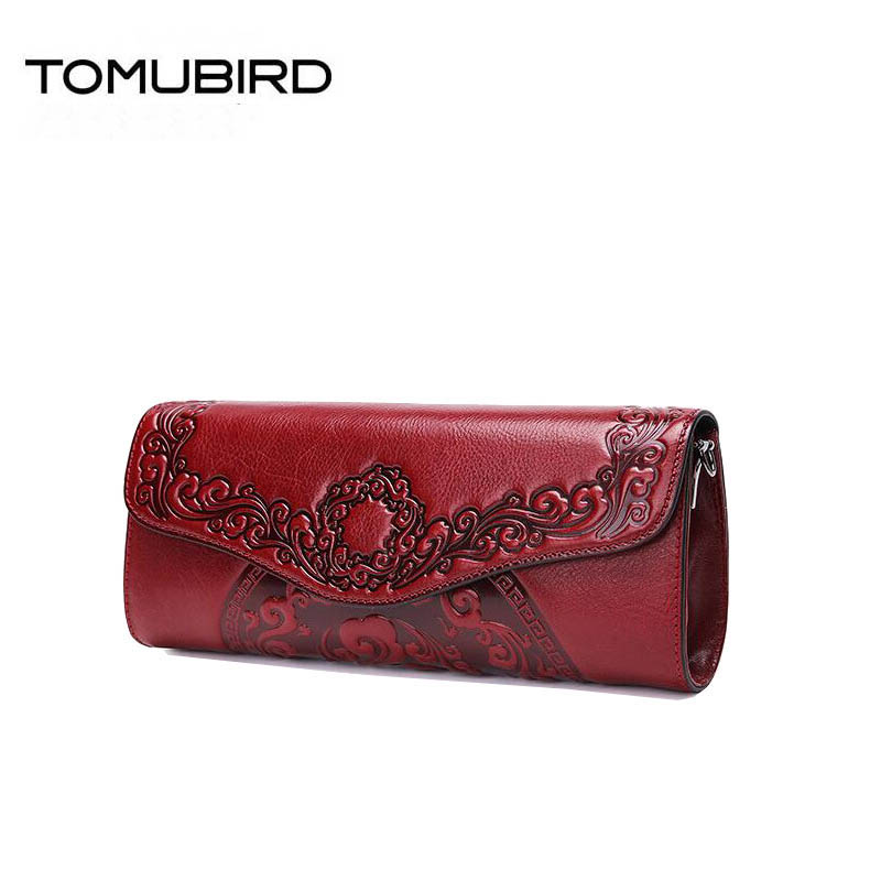 TOMUBIRD Superior cowhide Embossed Flowers famous brand women bag first layer genuine leather handbags shoulder bag clutch bag