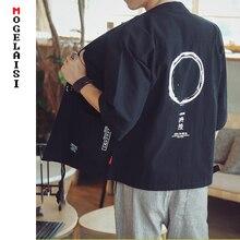 Japan style linen shirts men Printed fashion pattern Breathable, soft tops cotton flax shirt camisa masculina A036-HF03
