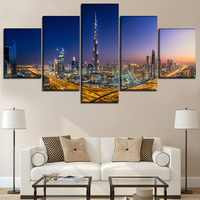 Wall Art Paintings Printed Posters Framework 5 Pieces Burj Khalifa Dubai City Glow Night Canvas Pictures Home Decor Living Room