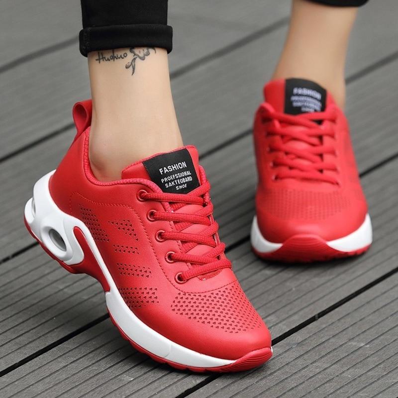 Leather Women Tennis Shoes Platform