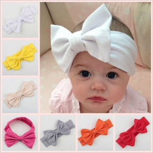 New arrived handmade bowknots/tie decoration Solid Cotton baby headbands 10pcs infants Elasticity hair bands diy jewelry making