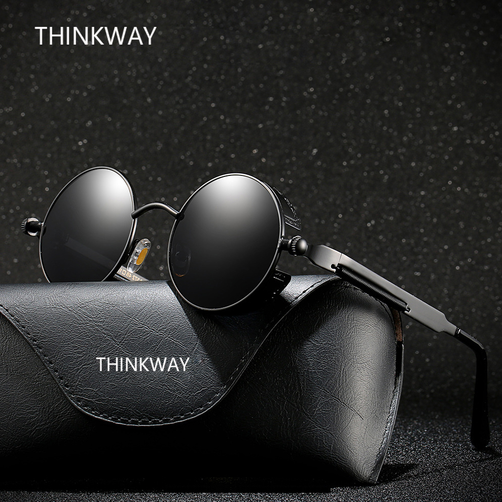 THINKWAY YHD010 High quality Steam Punks sunglasses men polarized sunglasses women sun glasses gafas de sol with glasses case