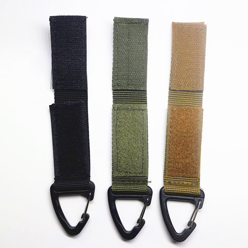 Outdoor Backpack Hooks Nylon Belt Keychain Carabiner Buckle Hook Tactical Climbing Camping Hook Keychain Clasp