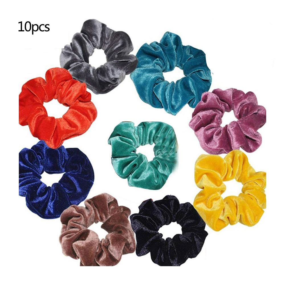 10Pcs Womens Scrunchy Elastic Hair Bands Rope Hair Ring Hair Acessory Headdress