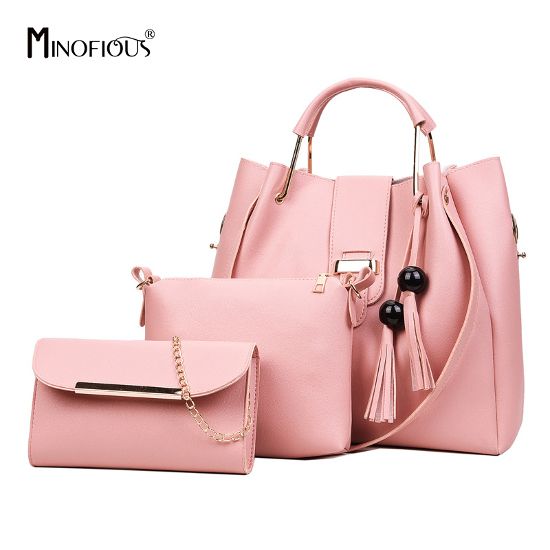 MINOFIOUS Fashion Tassel Composite Bag Women PU Leather Handbag Solid 3 Piece Set Tote Bags Simple Casual Shoulder Bag Handbags embossed pu leather casual 3 pieces tote bag set