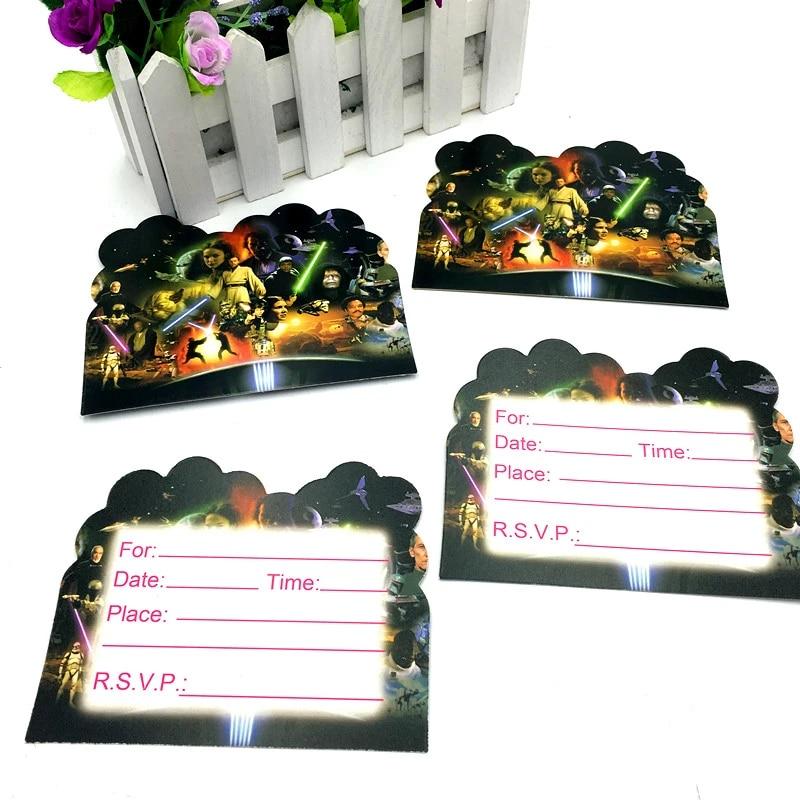 10 pieces lot invitations star wars enfants fete d anniversaire faveurs cartes d invitation star wars joyeux anniversaire fete fournitures