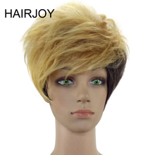цена на HAIRJOY Capless Woman  Blonde Short Layered Curly Synthetic Hair Wig Free Shipping