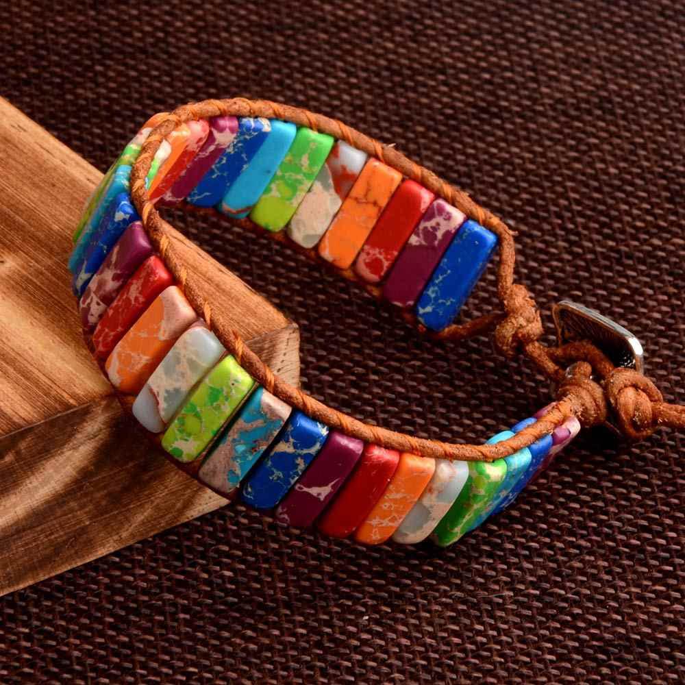Chanfar 7 צ 'אקרה צמיד בוהמיה בעבודת יד טבעי אבן צינור חרוזים עור אמיתי לעטוף צמיד יוגה צמידי זוגות