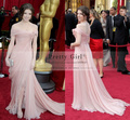robe de soiree Cheap Sexy Formal Red Carpet Celebrity Dresses 2016 Pink Chiffon Lace Long Prom Dress Gowns vestido de festa