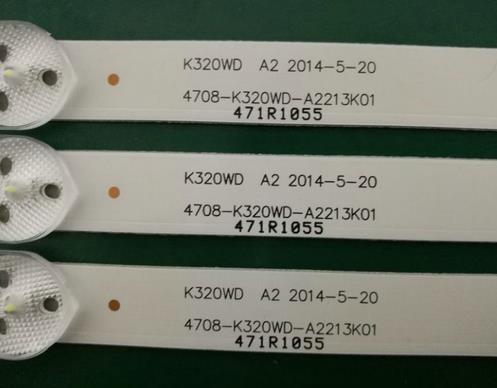 3 Pieces/lot LE32D59 32PFL3045 New LED Strip K320WD 4708-K320WD-A2213K01 A4213K01 471R1055 471R1P53 8 LEDs 618mm