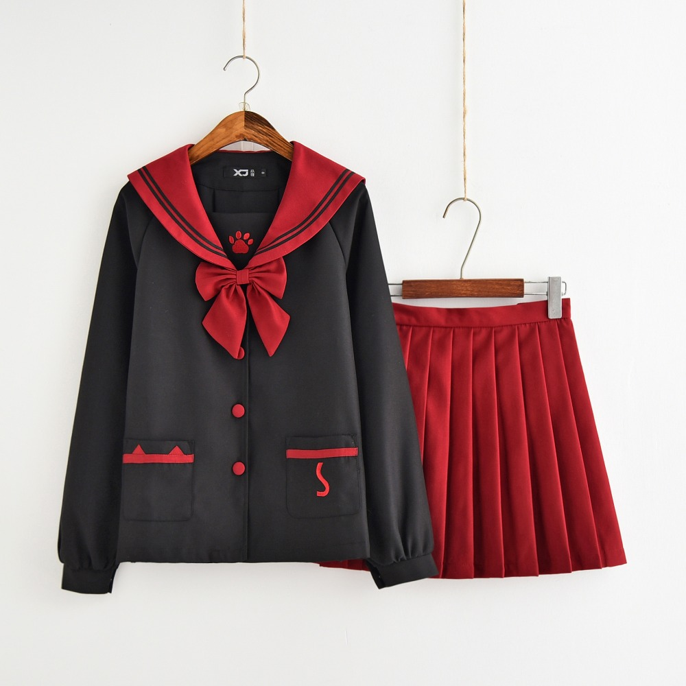 Fashion Spring Autumn British School Girl Uniform Paws Embroidery Black Red Stitching Tops Pleated Skirt Sailor Suits