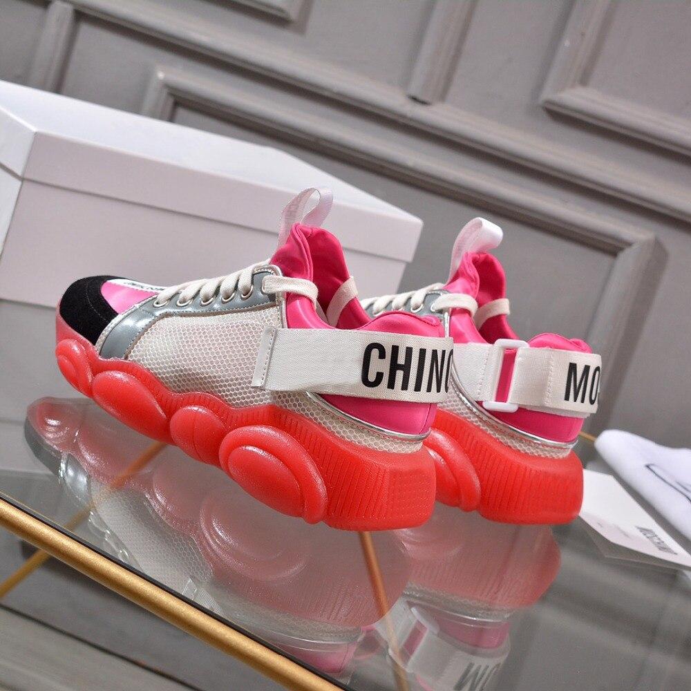 Qualité En Cuir De Femmes 19ss Couleur Chaussures Top Lumière Sneakers Ours Mouton Importé Bonbon Peau Nouveau Maille Semelles Des tQChdsrx