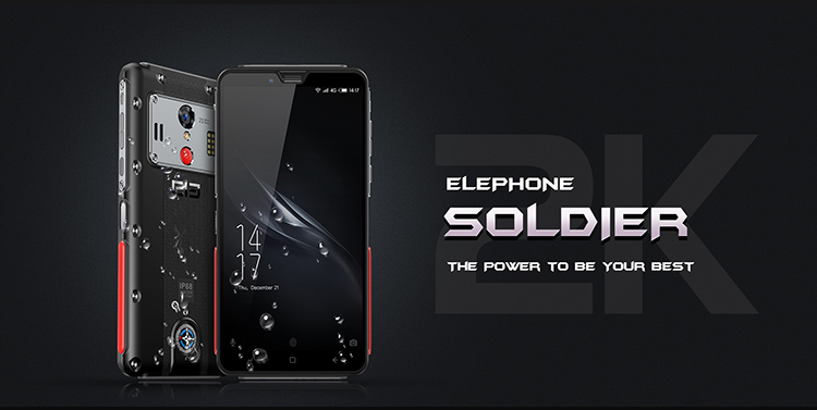 ELEPHONE Soldier 4GB RAM 64GB ROM Helio X25 MTK6797T 2.5GHz Deca Core 5.5 Inch Corning Gorilla Glass 3 2K Screen Support Side Fingerprint Unlock NFC SOS Gravity Induction Android 8.0 IP68 4G LTE Smartphone