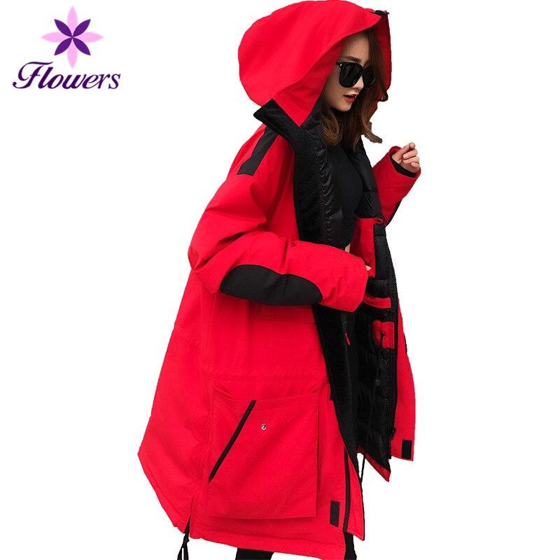 Hiver Chaud Vers Le Bas Veste Plus La Taille Femmes Vêtements Coréen 90% Blanc Duvet de Canard Survêtement Thicking Outillage Long Manteau Femelle LQ362