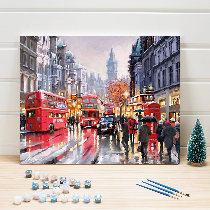 Paint Oil Painting By Numbers City Street Scenery DIY Acrylic Coloring Art Canvas Wall Pictures For Living Room Adults Drawing