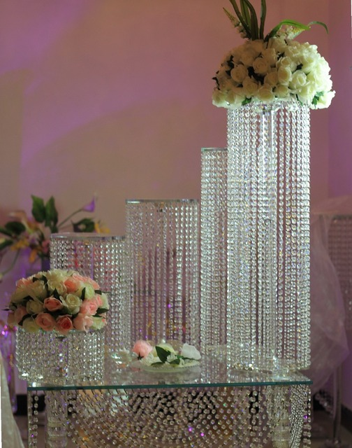 6pcs Set Crystal Chandelier Wedding Cake Stand For Centerpiece