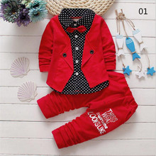 2017 Baby Boys Autumn Casual Clothing Set Baby Kids Button Letter Bow Clothing Sets Babe jacket + pant 2-Piece Suit Set