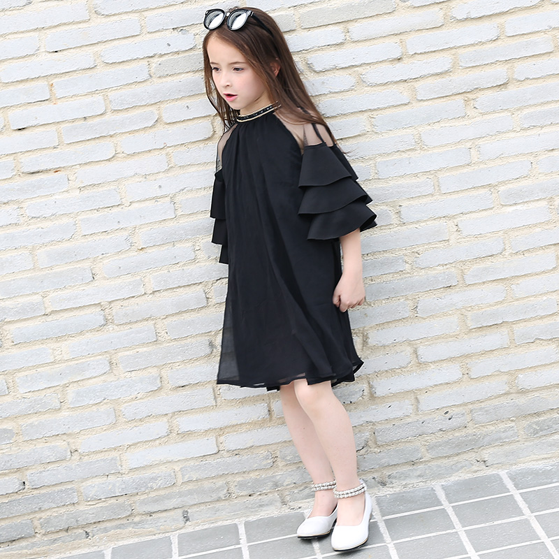 2018 Girls Summer Evening Frock Design Dresses Black Chiffon Party Ruffle  Dress Everything for children Clothing and AccessoriesUSD 28.79 piece a6a9b6405