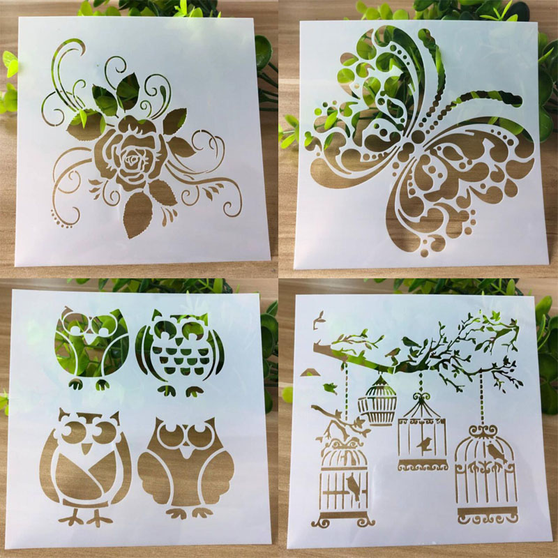 8pc Stencil Sheep Elephant Child Painting Animal Openwork Scrapbooking Album Decorative Bullet Journal Template Drawing Stencils For Fast Shipping Home