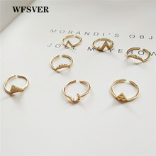 WFSVER 925 sterling silver ring for women gold color bohemia with white crystal geometric moon crown totem shape opening ring wfsver women rose gold silver 925 sterling silver ring bohemia with white crystal leaf shape ring opening adjustable jewelry