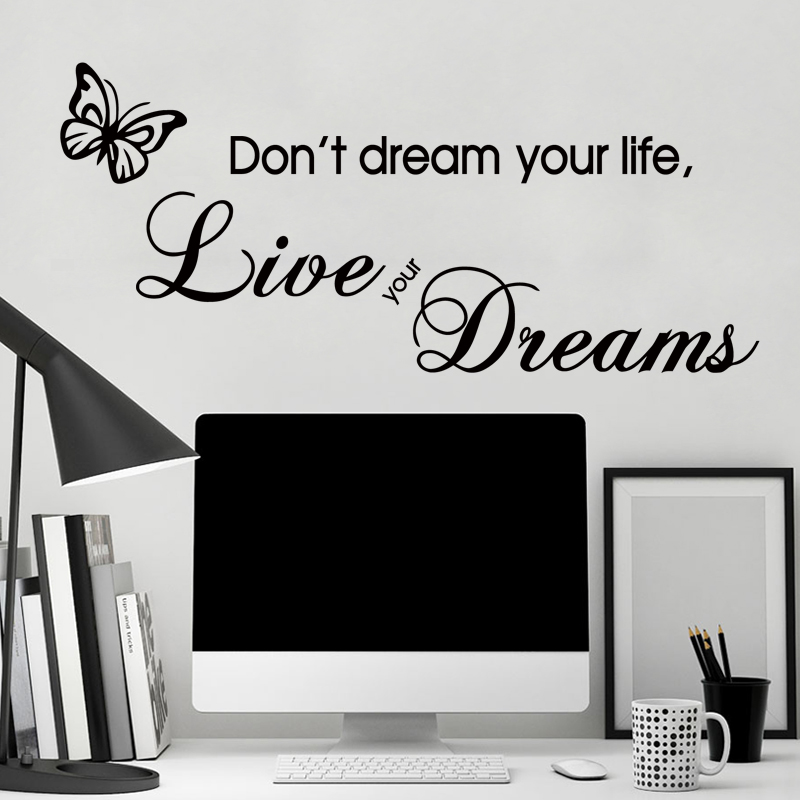 Art Design Vinyl Room Decor Creative Character Words Wall Sticker PVC Home  Decoration Live Your Dreams Cheap Wall Decals
