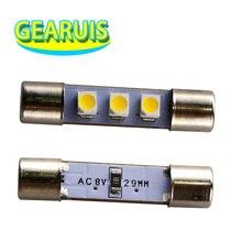 50X AC 8V Audio equipmen receiver Reading Light Festoon T6.3 C5W 29mm 31mm 3 SMD 3528 1210 LED 3SMD License plate light led bulb