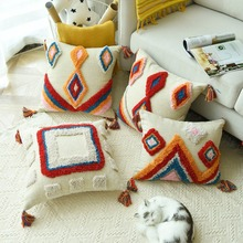 Handmade Luxury Moroccan Style Cushion Cover Wool Tassels Boho Ethnic Colorful Pillow 45x45cm/30x50cm HomeDecoration