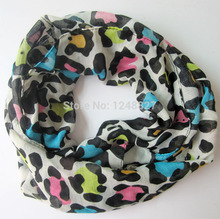 Leopard print Voile scarf kids intensive chiffon ring scarves mix color girls Muffle Scarf hot sale new 2015