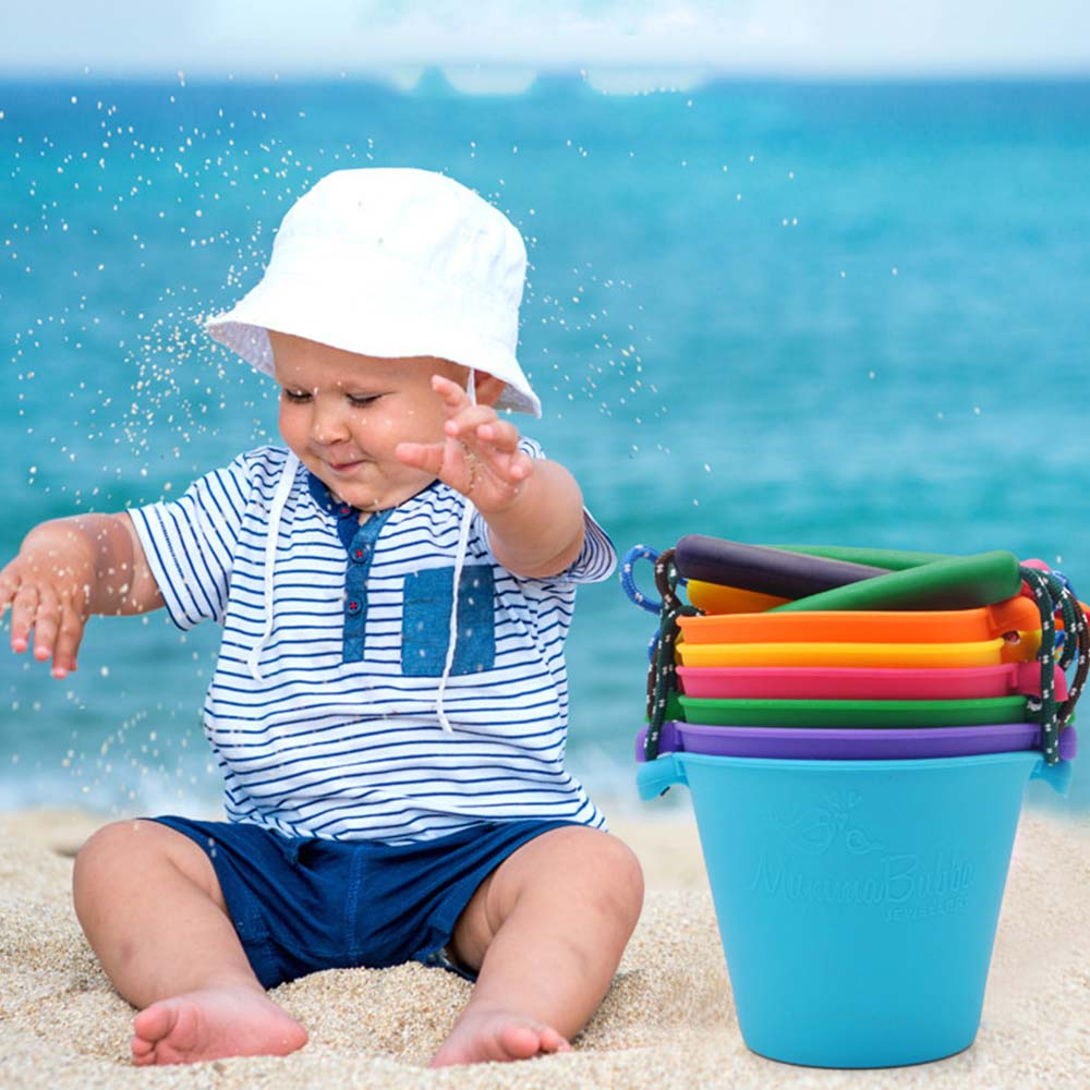 6 Colors Kids Beach Bucket Silicone Folding Hand-held Barrel Toy Baby Shower Bath Toy Sand Dabbling Pour Water Toy