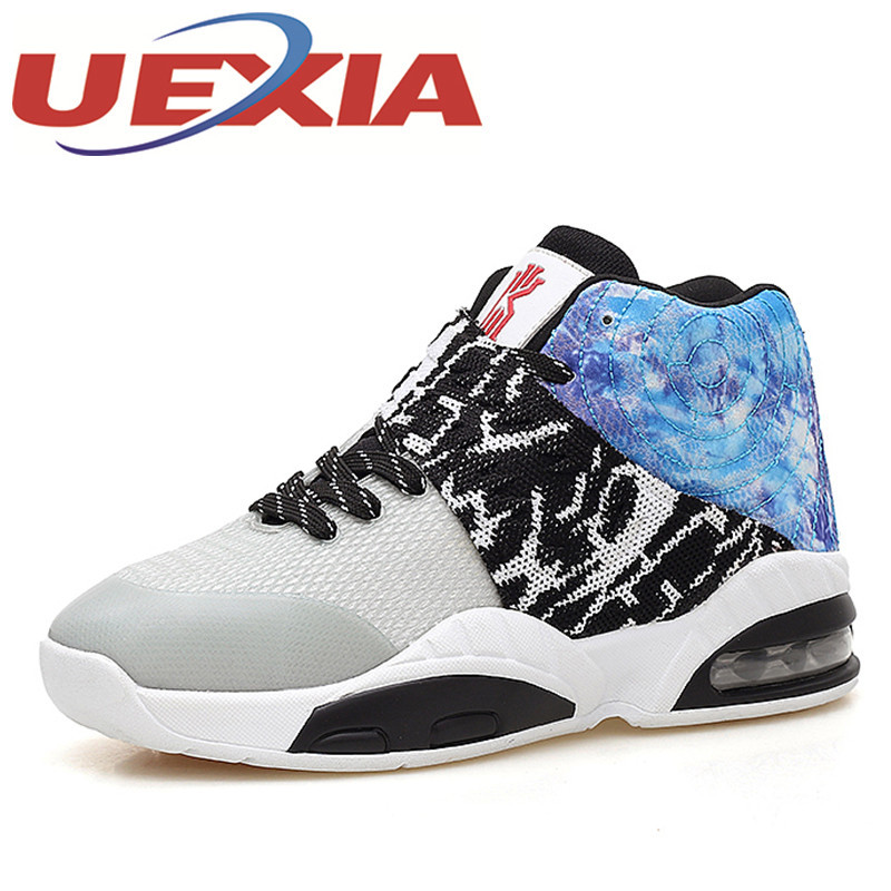 New Mens Mesh Basketball Shoes Spring Autumn Outdoor High Top Air Sneakers Black Trainers Sports Basket Hombre Chaussures Homme