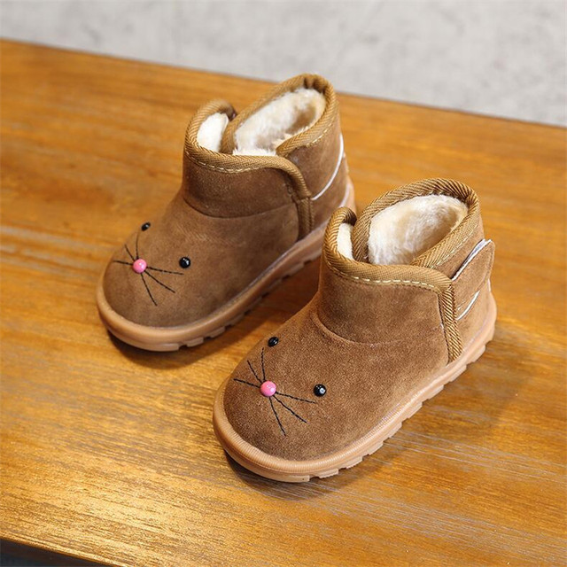 MHYONS 2019 winter new children's cartoon boots girls snow boots boys cotton shoes plus velvet baby shoes boots Pink brown red