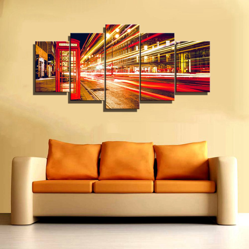 Red Tel Booth Traffic Light Wall Decor Street Art Canvas Painting ...