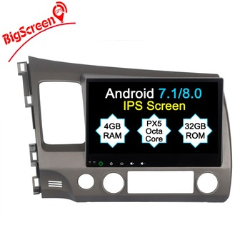 Newset Android8.0 Tesla style 8 Core 4GB RAM 32GB ROM Car No DVD Player GPS Navi For Honda Civic 2006-2011 Headunit Autoradio image