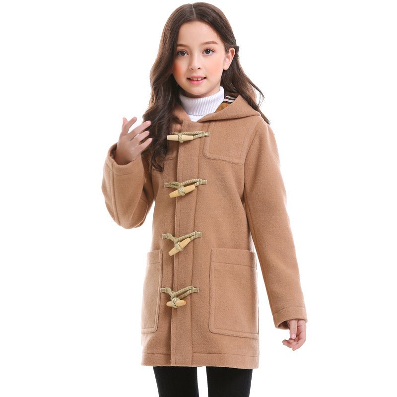 Bayali Winter Girls Wool Coat Baby Girl Coat Single-breasted Hooded Long Outerwear for Children England Style High Quality single breasted lapel lengthen wool coat