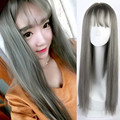 Harajuku Lolita Grey Wig with Bangs Long Straight Cosplay Wig Costume Party Wigs for Women Synthetic Perruque Kanekalon Fibre
