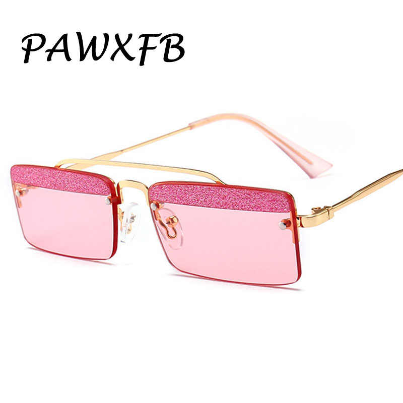 d12493a713 Pop Age Fashion Rimless Women Square Sunglasses Clear glitter Lens Pink  Blue Yellow Metal Frames Glasses
