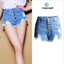 2017 топ лето отверстие черный белый синий короткие джинсы с высокой талией открытый мульти-кнопка джинсовые шорты Джинсы больших размеров для женщин брюки