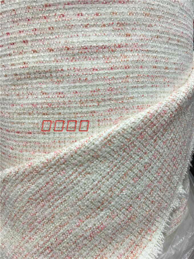 free shipping Tweed fabric white and pink weaved with shining line pattern sold by meter 59