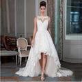 Новый Дизайнер Высокий Низкий Кружева плюс размер Свадебные Платья 2017 Sexy Back Свадебные Свадебное Платье с Длинным Trail Заказ