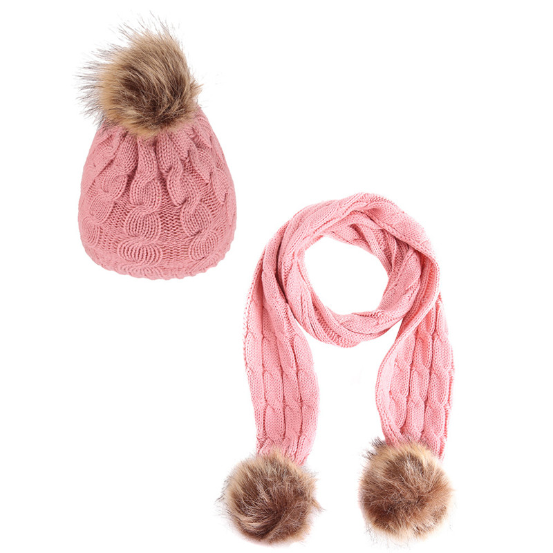 2019 Baby Hat Scarf Kids Warm Winter Caps Thick Plus Velvet Hat And Scarf Set For Girls Boys Fur Pompom Ball Knitted Beanies