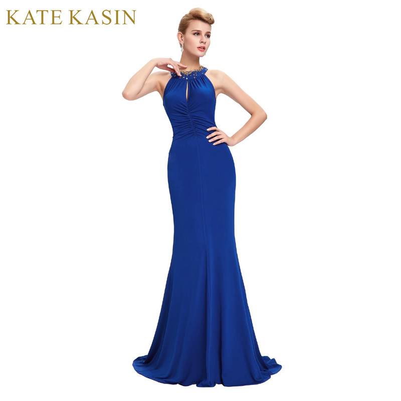 Abendkleid lang blau neckholder