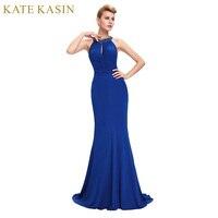 Blue Dài Evening Dress 2018 Robe de Soiree Sirene Sexy Halter Cổ Trang Phục Chính Thức Evening Gowns Dresses Đen Đỏ Jersey Mermaid ăn mặc