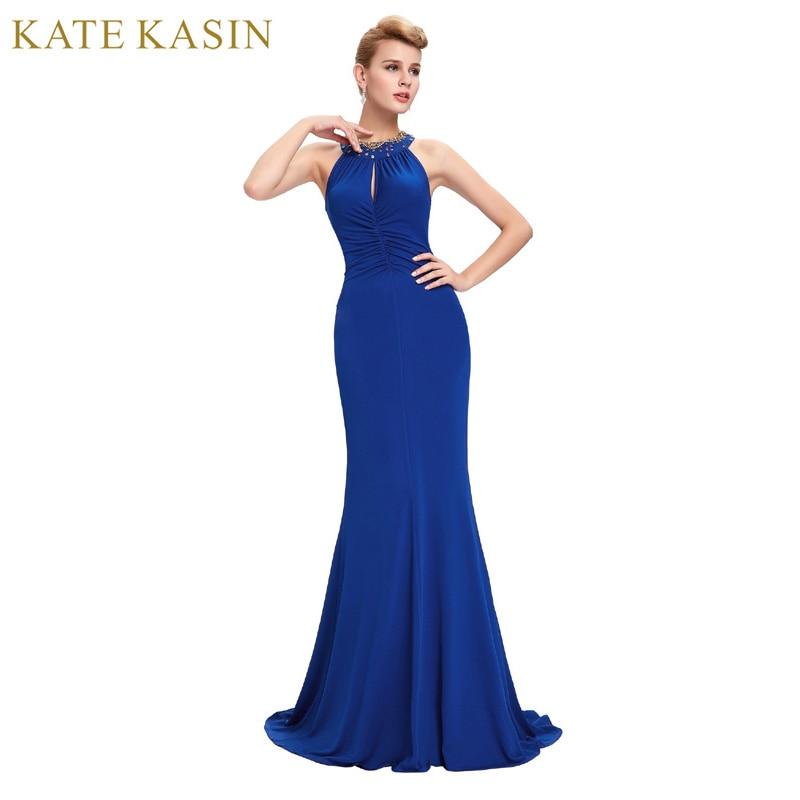Blue Long Evening Dress 2017 Robe de Soiree Sirene Sexy Halter Neck Formal Evening Gowns Dresses
