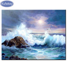 Diamant malerei seascape diamant stickerei landschaft diy voller diamant mosaik Hause handwerk 5d Platz diamanten für bilder Welle(China)