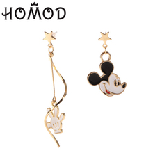 HOMOD Cute Enamel Mickey Shaped Dangles Earrings For Women Girls Animal Charming Valentines